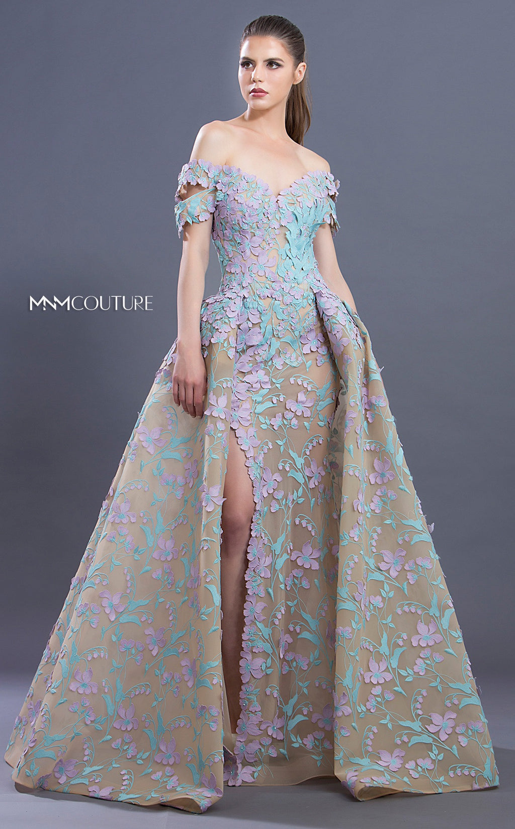 MNM Couture K3637 Floral Appliqué Off-Shoulder Gown - CYC Boutique