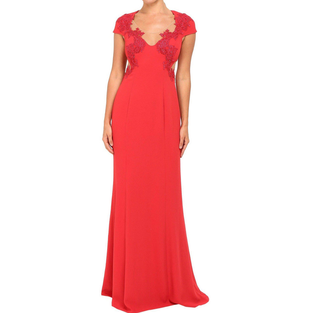 Marchesa Column Gown w/ Beaded Appliqués - CYC Boutique