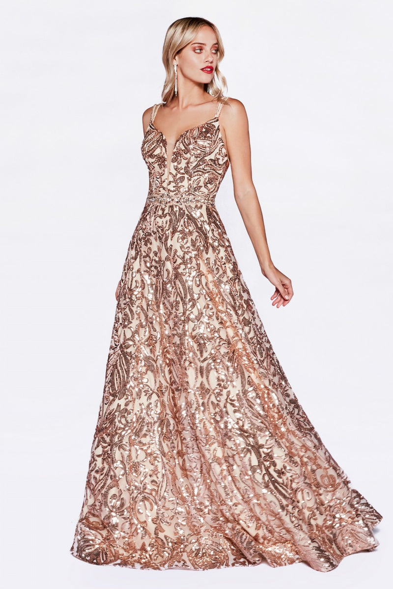 Cinderella Divine CR842 Sequin Print Evening Dress - CYC Boutique