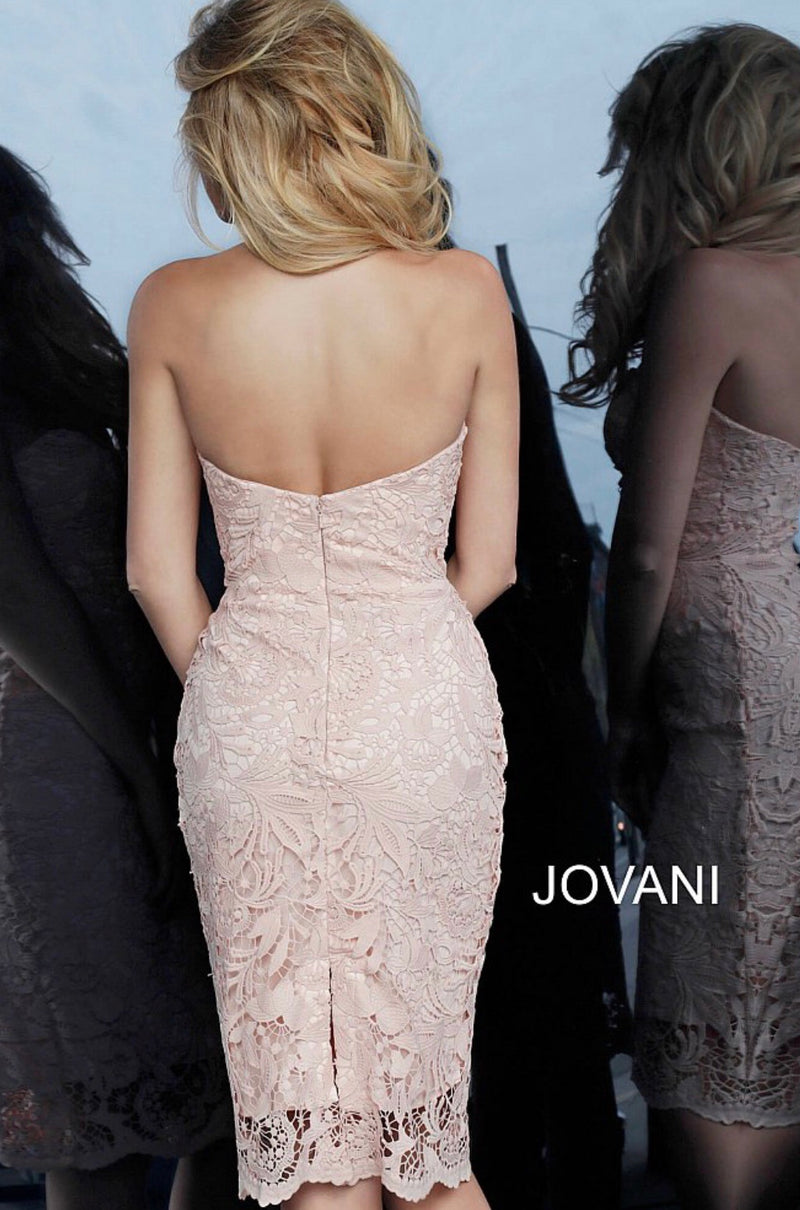 JOVANI 1401 Light Pink Lace Cocktail Dress - CYC Boutique