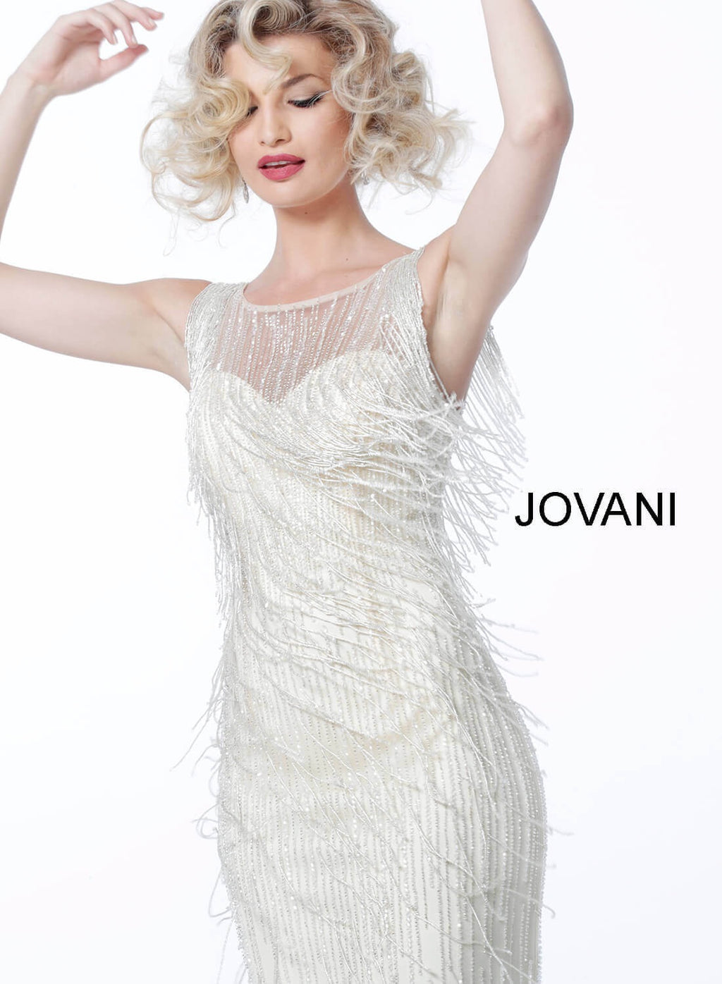 JOVANI 62678 Sleeveless Fringe Evening Dress - CYC Boutique