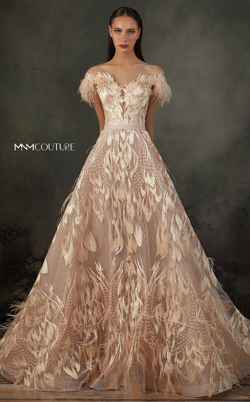 MNM Couture K3659 Feathered Embroidered Gown - CYC Boutique