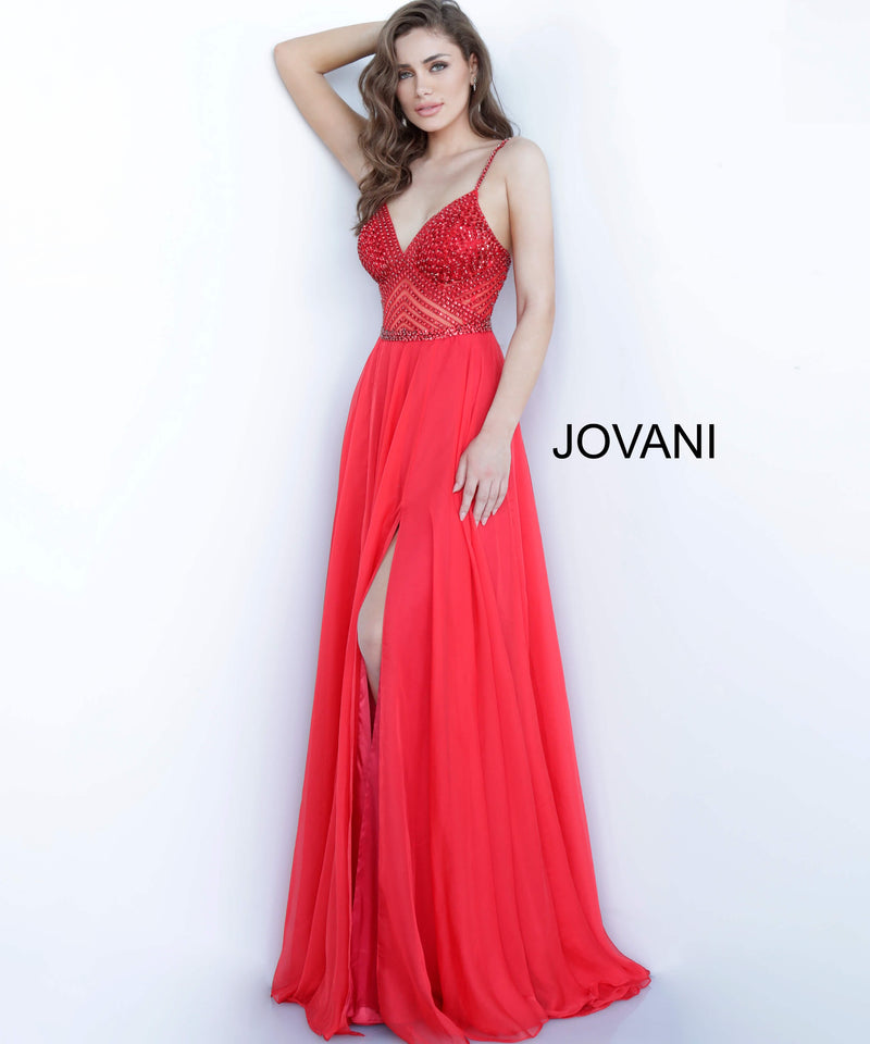 JOVANI 66925 Beaded Bodice Chiffon Evening Dress