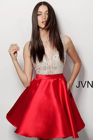 JOVANI JVN64297 Crystal Embellished Chiffon Cocktail Dress - CYC Boutique