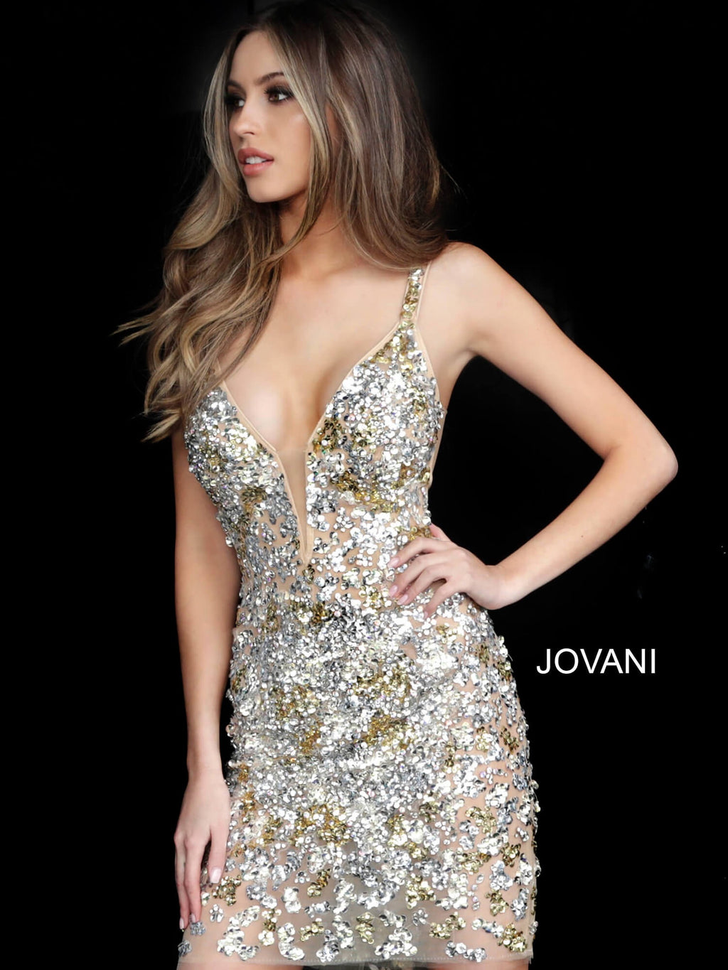 JOVANI 62112 Embellished Cocktail Dress - CYC Boutique