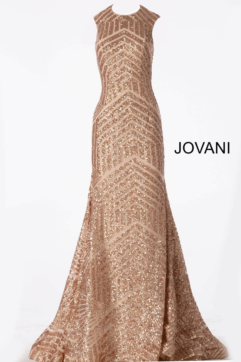 JOVANI 64807 Sequin Open Back High Neck Dress - CYC Boutique