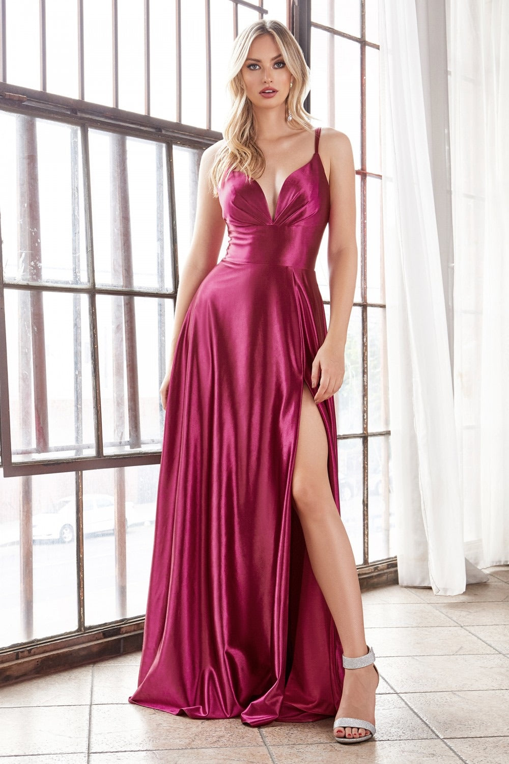 Cinderella Divine CD903 Satin A-Line Evening Dress