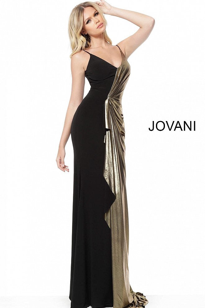 JOVANI 5700 Ruched Spaghetti Straps Evening Dress - CYC Boutique