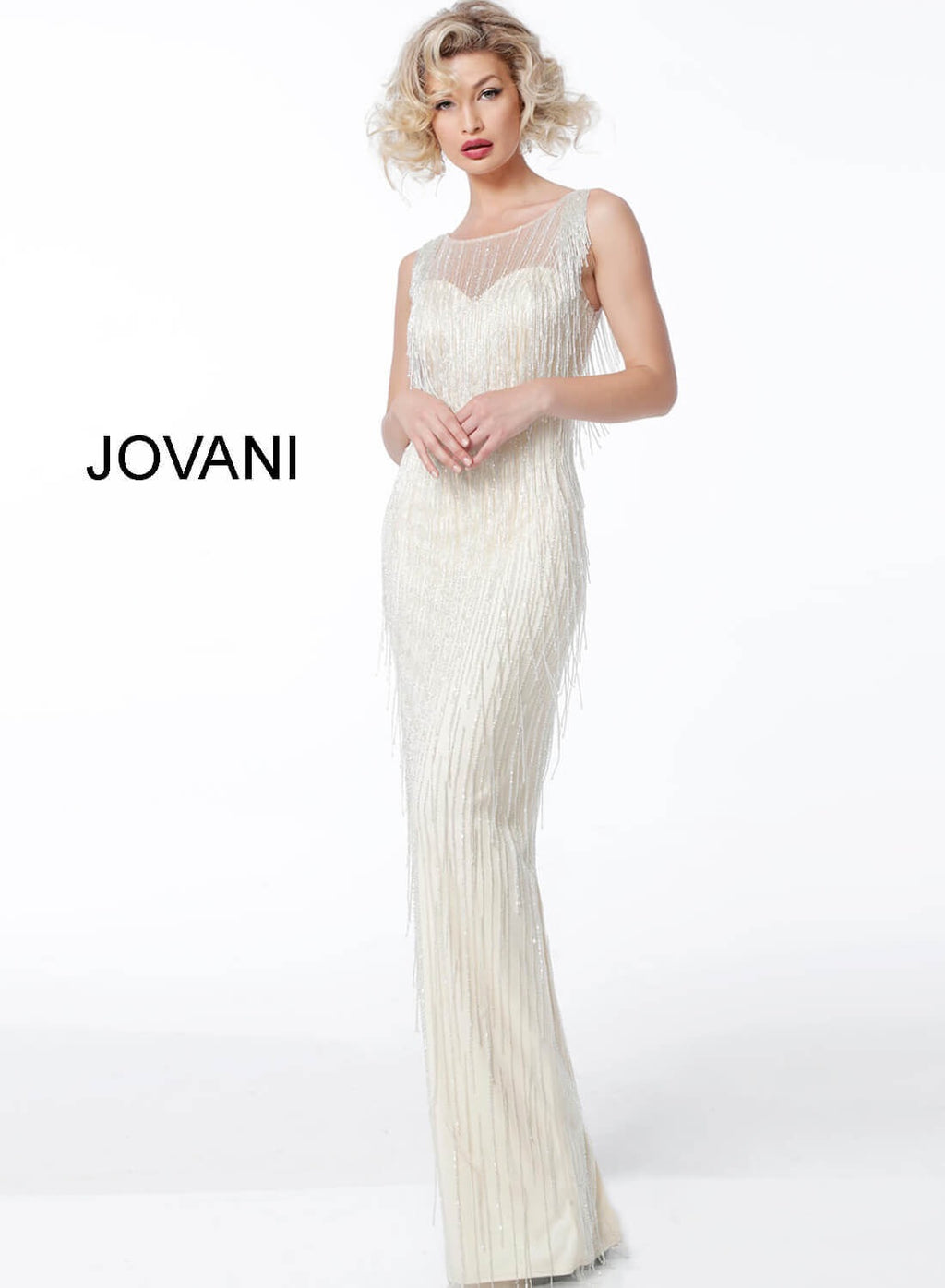 JOVANI 62678 Sleeveless Fringe Evening Dress