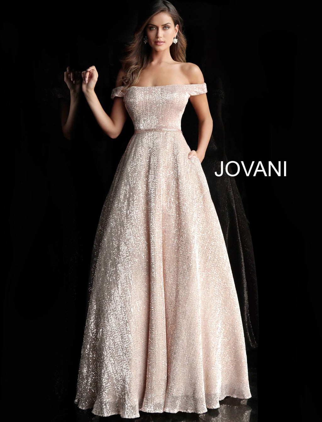 JVN66951 Off Shoulder A-Line Evening Dress