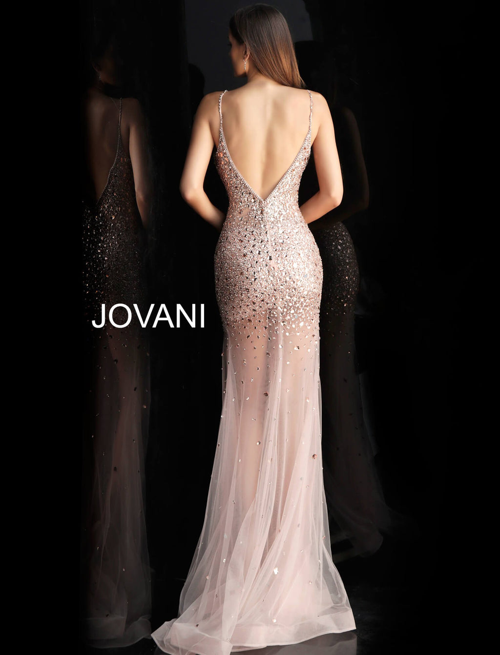 JOVANI 57300 Rhinestone Embellished Illusion Gown - CYC Boutique
