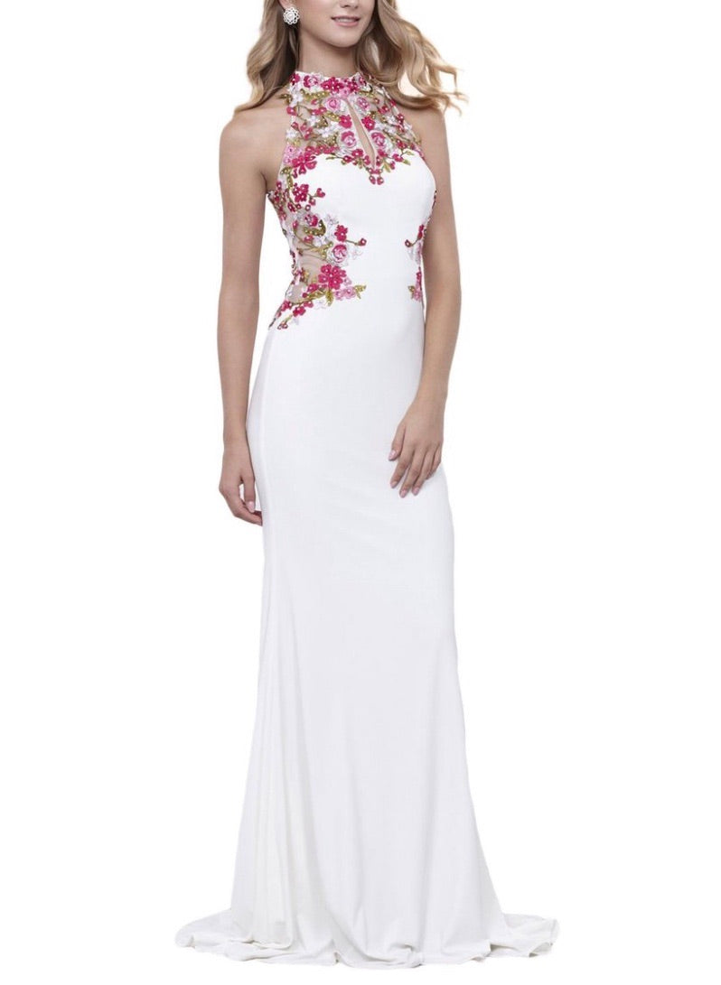Nox Anabel 8322 Floral Embroidered Halter Evening Dress - CYC Boutique