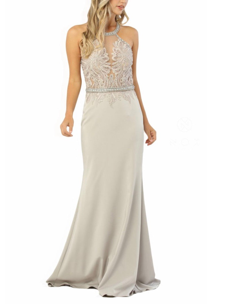Nox Anabel M195 Appliqued Halter Gown - CYC Boutique