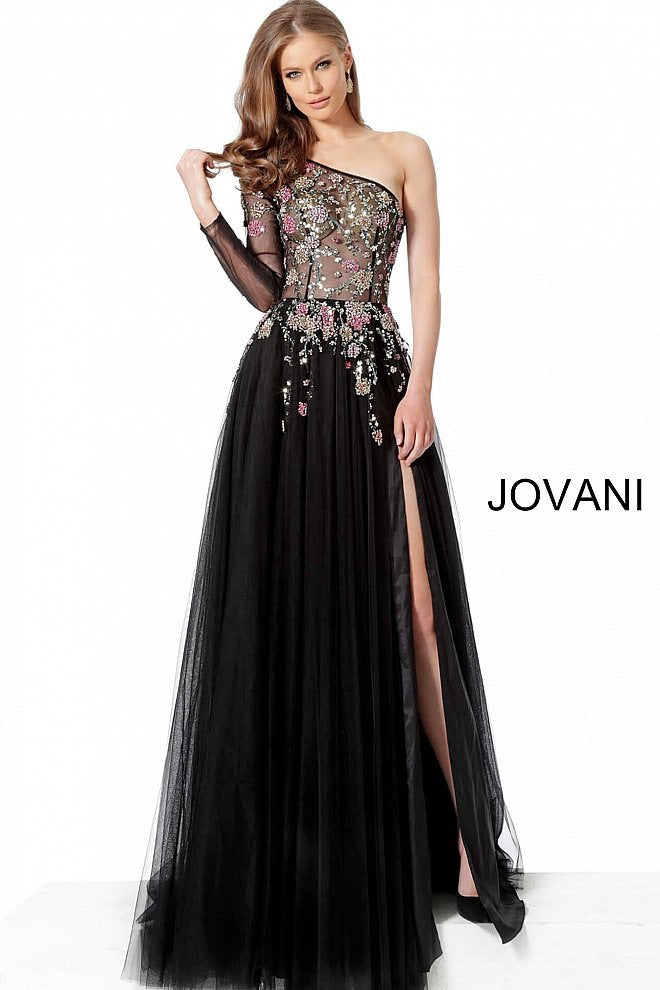 JOVANI 66344 One Shoulder Pageant Gown - CYC Boutique