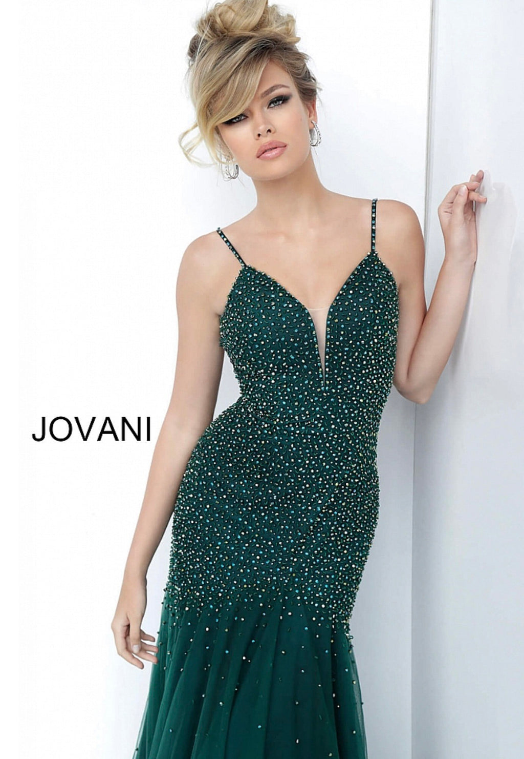 JOVANI 62987 Green Plunging Neckline Beaded Evening Dress - CYC Boutique