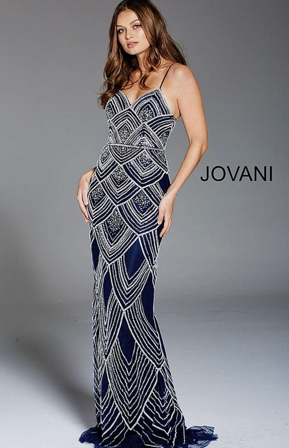 JOVANI 60653 Scallop Motif Beaded Sheath Dress - CYC Boutique