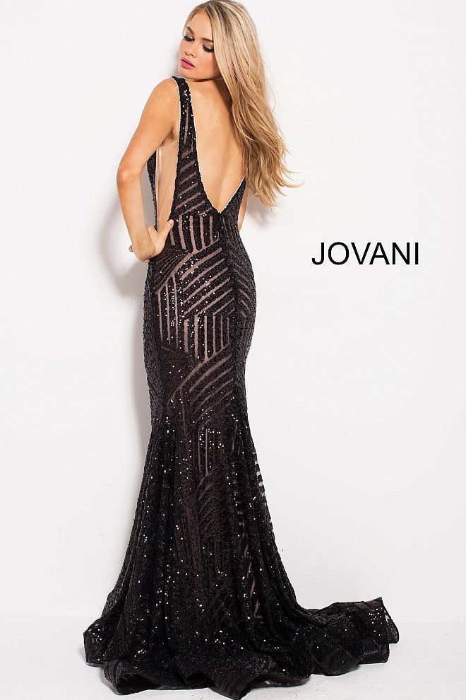 JOVANI 59762 Fitted Plunging Gown - CYC Boutique