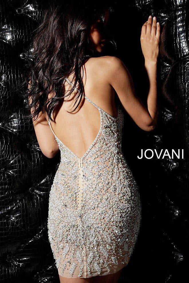 JOVANI 40928 Beaded Plunging V-Neck Mini Dress - CYC Boutique