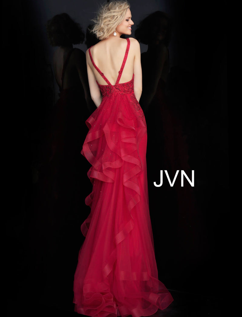 JVN by JOVANI JVN53188 Embellished Ruffle Back Evening Dress - CYC Boutique