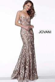 JOVANI 63491 Champagne Strapless Form Fitting Evening Dress - CYC Boutique