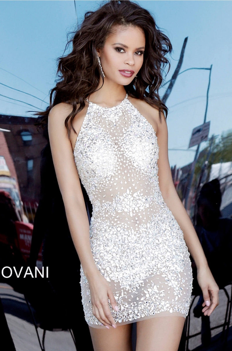JOVANI 64005 Silver Nude Beaded Sheer Cocktail Dress - CYC Boutique