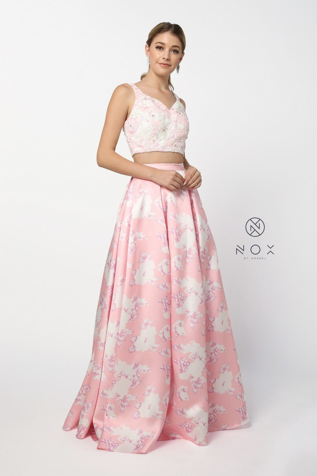 Nox Anabel 8312 Two-Piece Floral Evening Gown - CYC Boutique