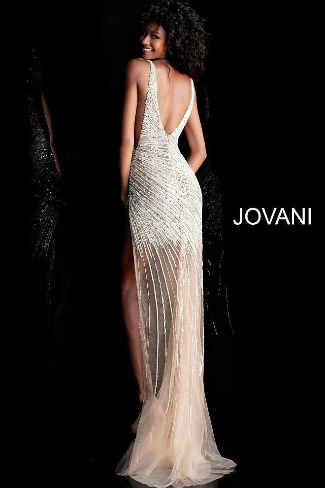 JOVANI 63405 Asymmetrical Beaded Illusion Gown - CYC Boutique