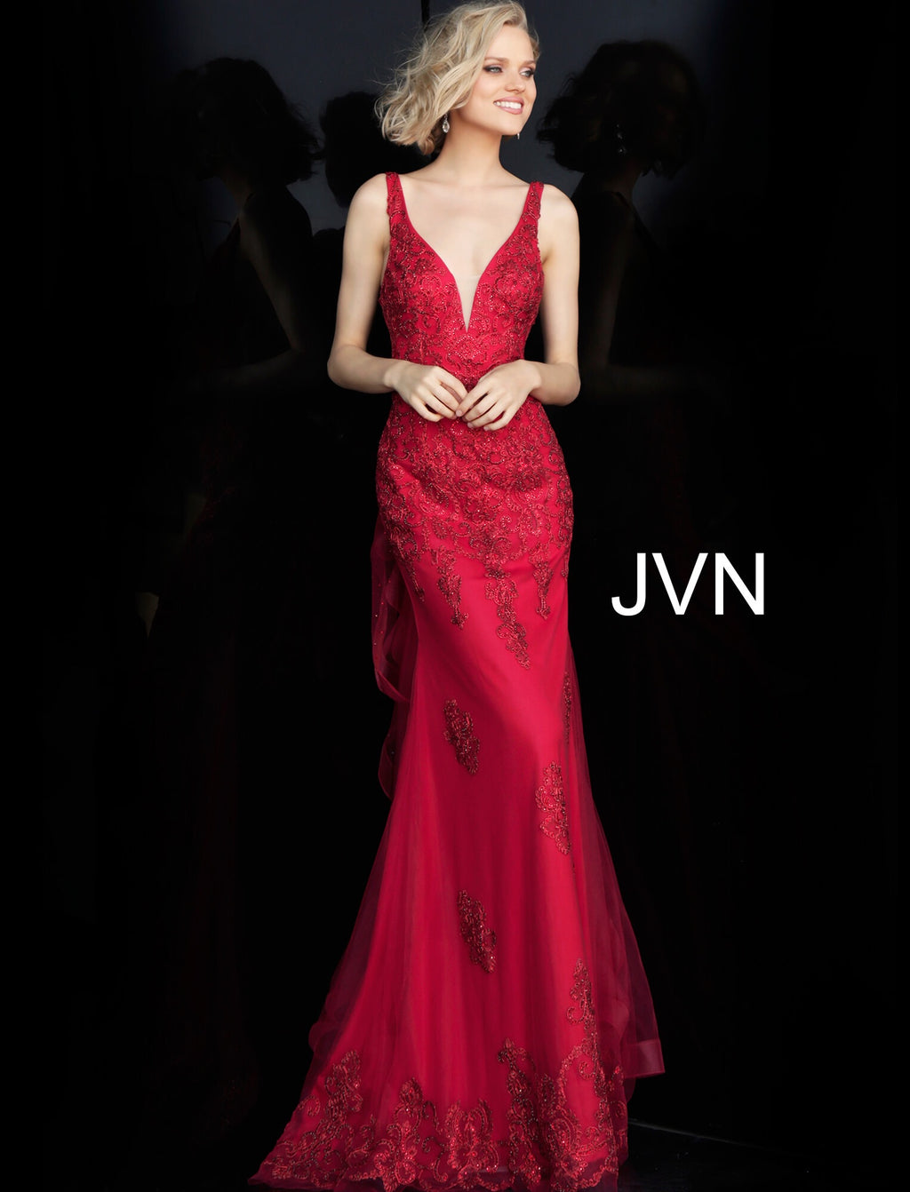 JVN by JOVANI Embellished Ruffle Back Fitted Prom Dres JVN53188 - CYC Boutique