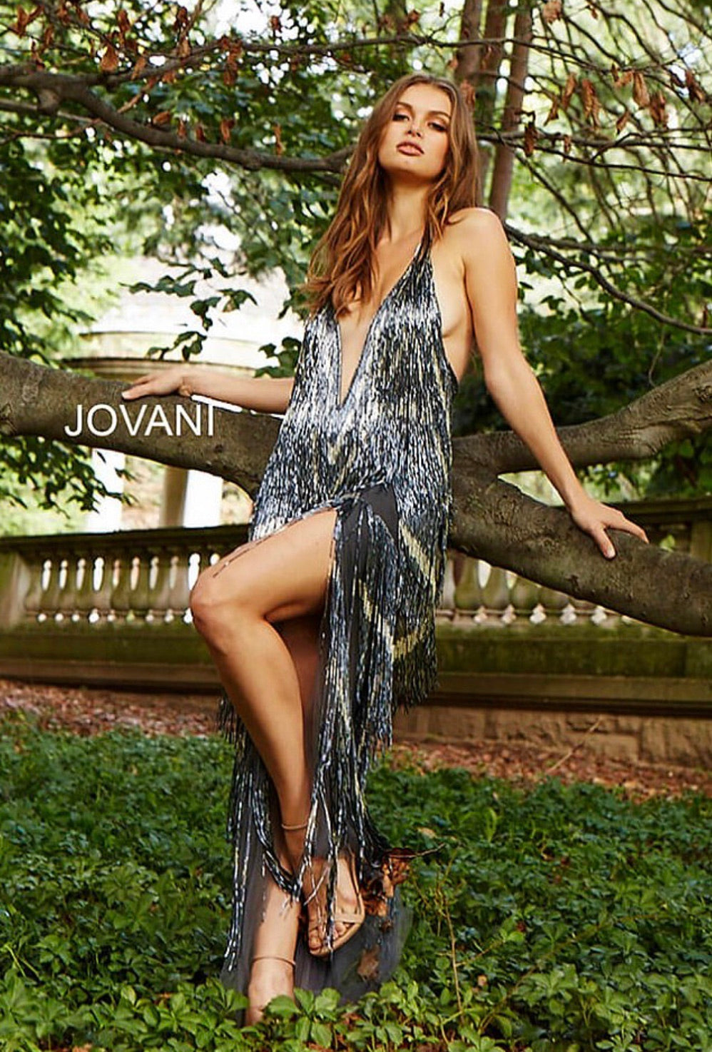 JOVANI 59642 Beaded Fringe Dress - CYC Boutique