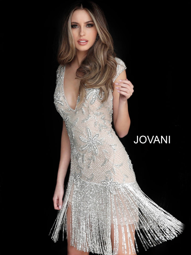 JOVANI 62212 V-Neck Cap Sleeve Cocktail Dress - CYC Boutique