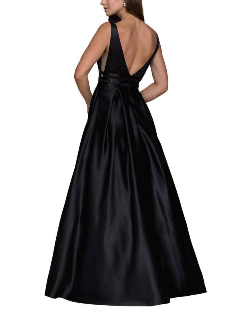 Nox Anabel M130 Satin Sheer Cut Out Gown with Pockets - CYC Boutique