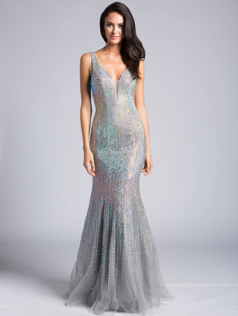 Lara 33615 Plunging V-Neck Crystalline Gown - CYC Boutique