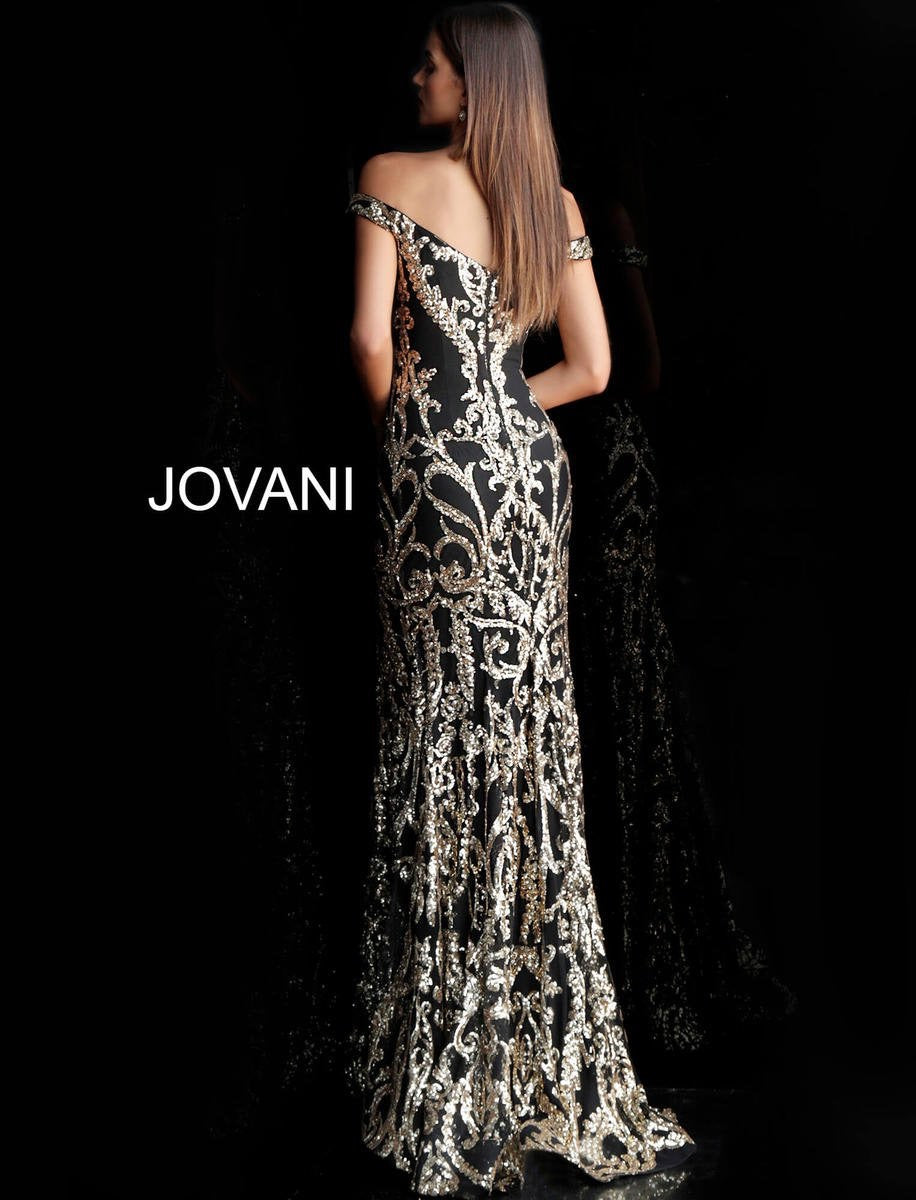 JOVANI 63349 Metallic Sequined Dress - CYC Boutique
