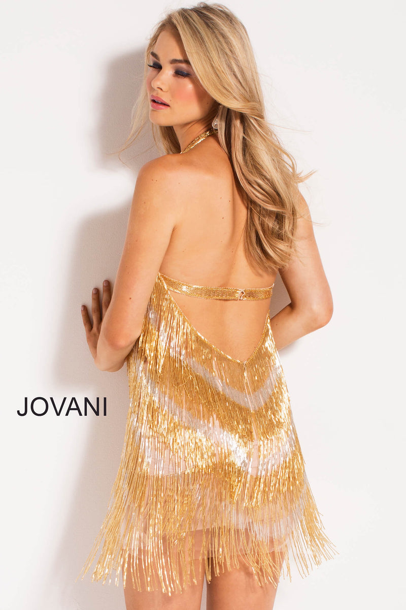 JOVANI 57907 Chevron Fringed Halter Dress - CYC Boutique