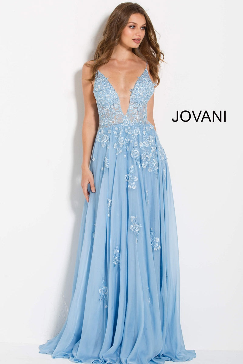 JOVANI 58632 Floral Embroidered Plunging Neckline Dress - CYC Boutique