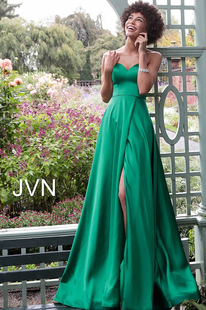 JOVANI JVN67753 Strapless Sweetheart Satin Dress - CYC Boutique
