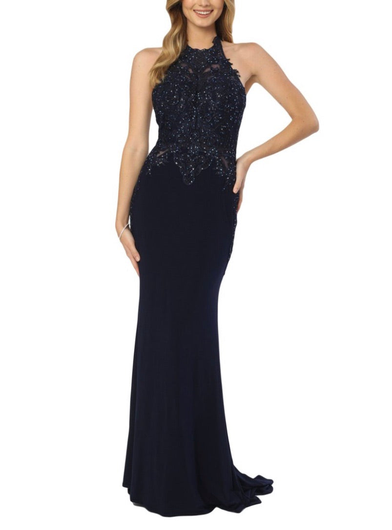 Nox Anabel A175 Appliqué Halter Neck Trumpet Gown - CYC Boutique