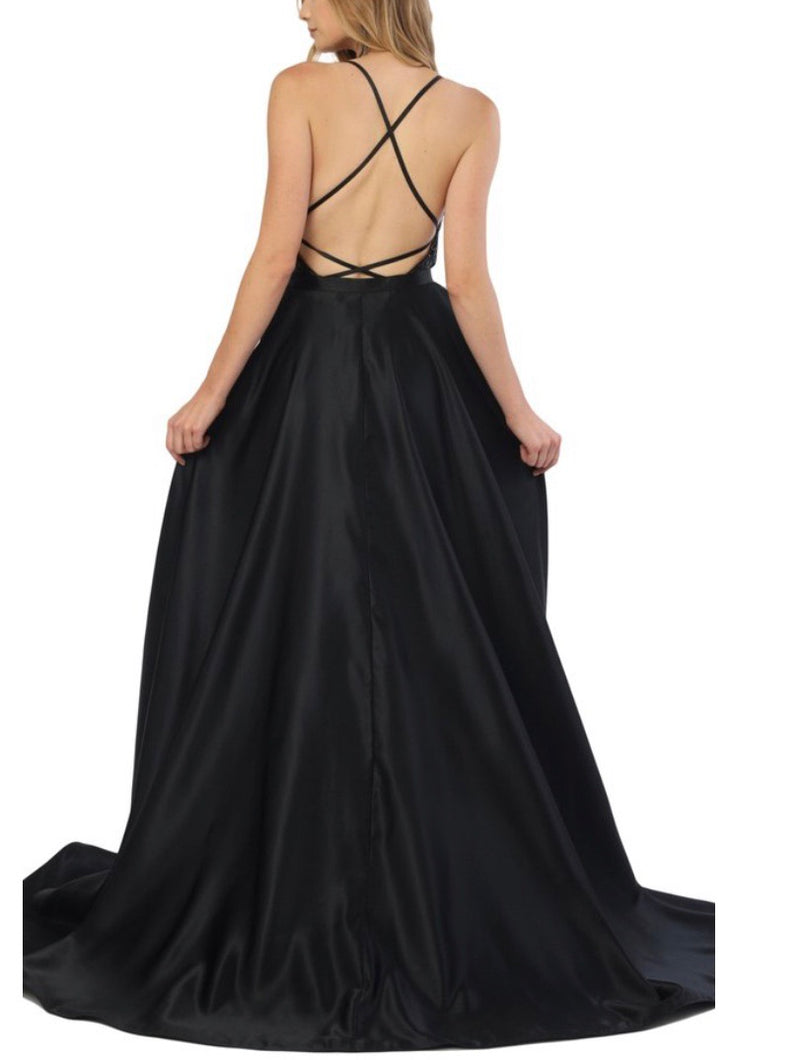 Nox Anabel C215 Embellished Deep V-neck Gown with Overskirt - CYC Boutique