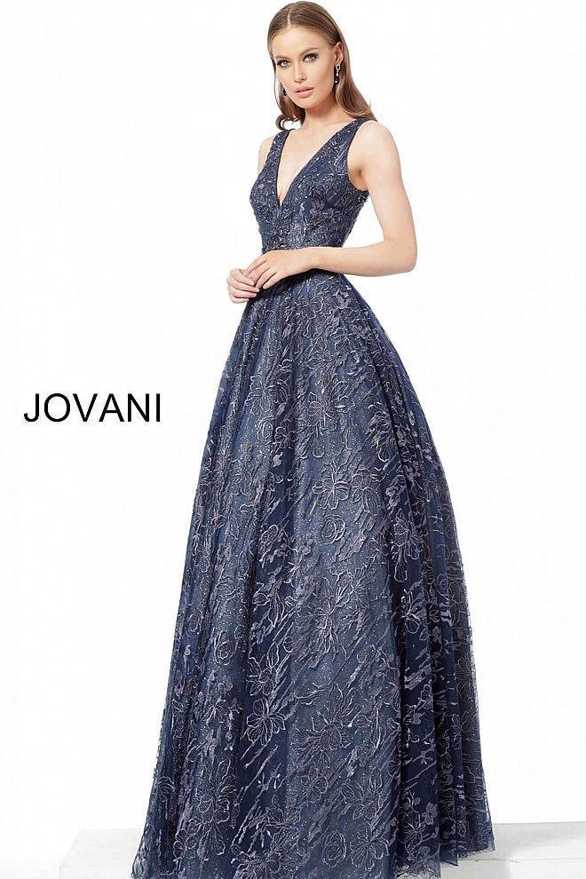 JOVANI 2020 Embellished Belt V-Neck Evening Gown - CYC Boutique