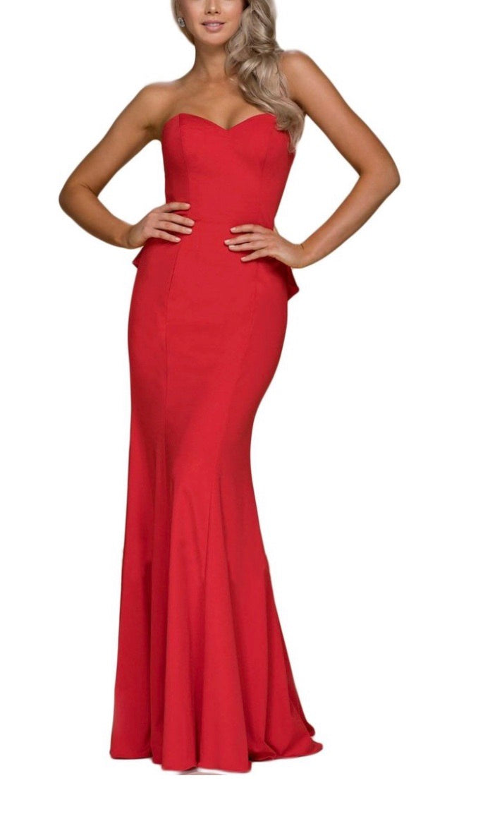 9529c27fa46 Nox Anabel E002 Evening Gown with Cut Out Back and Ruffled Bustle - CYC  Boutique