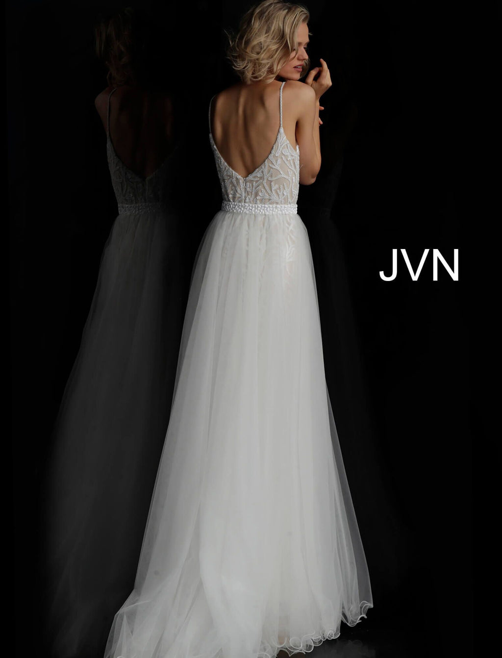 JVN55128 by JOVANI White Nude Plunging Neckline Beaded Prom Dress - CYC Boutique