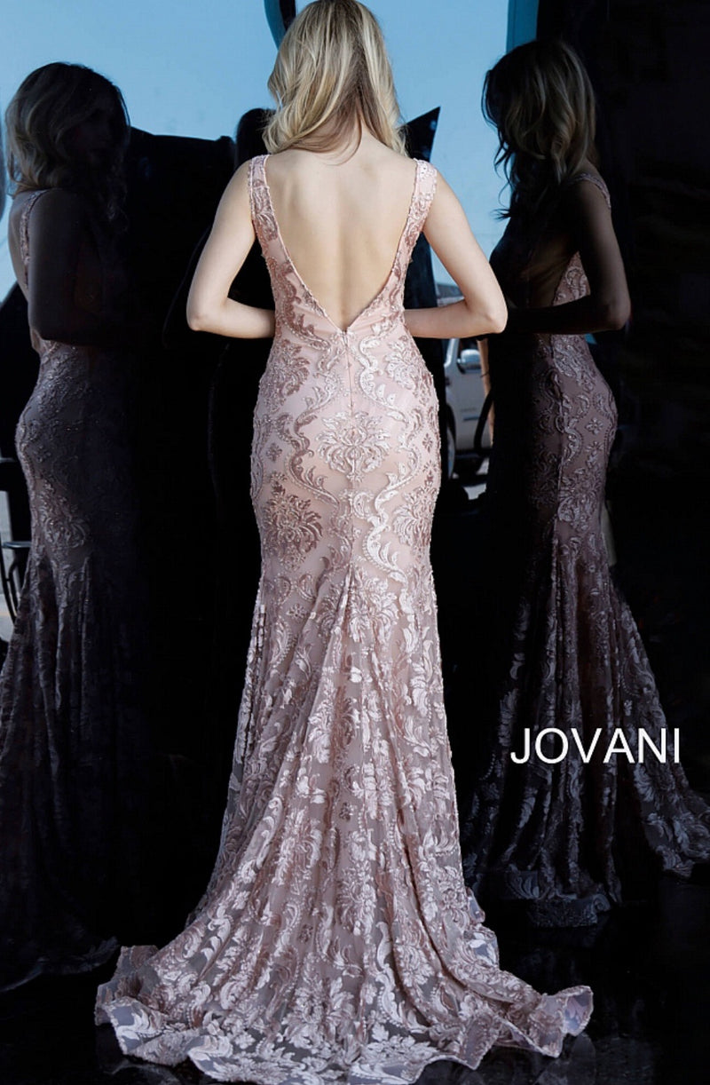 JOVANI 68445 Lace Plunging Neckline Evening Dress - CYC Boutique