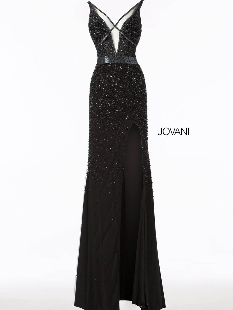 JOVANI 60404 Embellished Deep V-Neck Dress - CYC Boutique