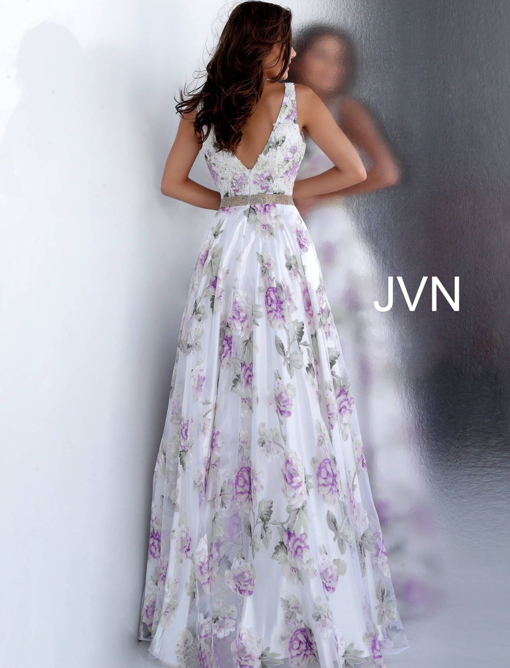 JVN by JOVANI White Floral Print Embellished Belt Prom Ballgown - CYC Boutique