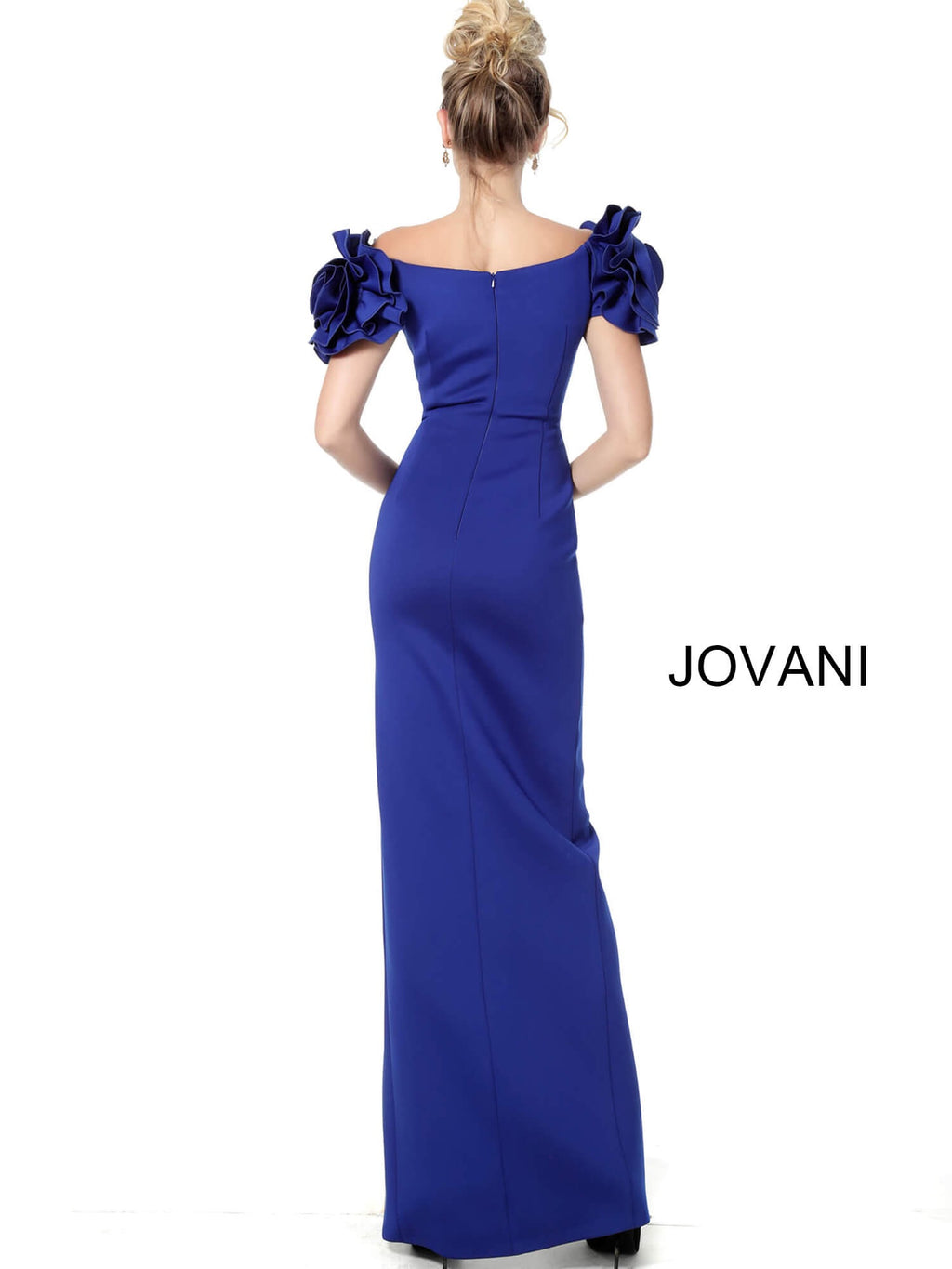JOVANI 54913 High Slit Ruffle Sleeves Evening Dress - CYC Boutique