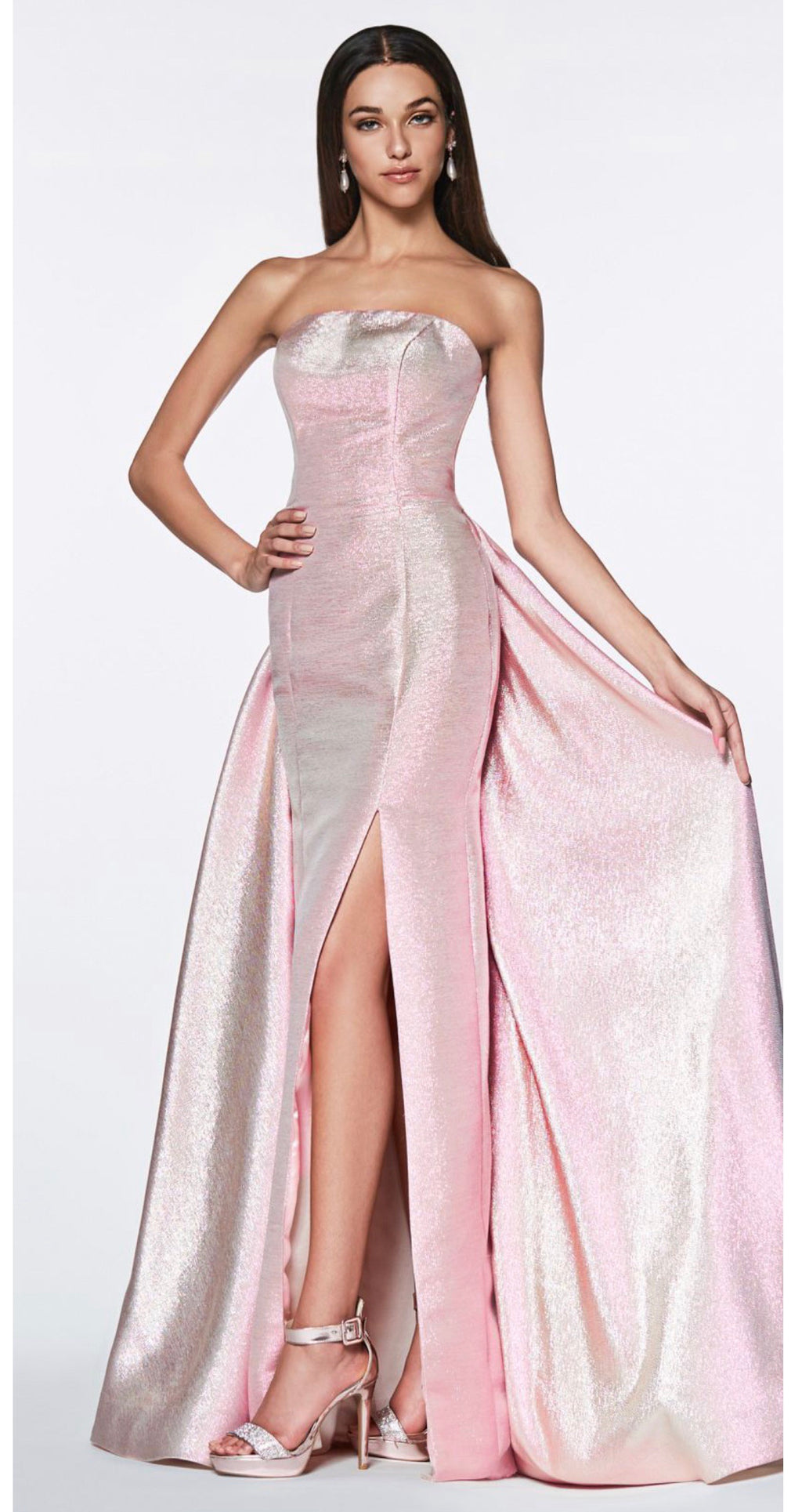 Cinderella Divine CR834 Strapless Metallic Dress - CYC Boutique