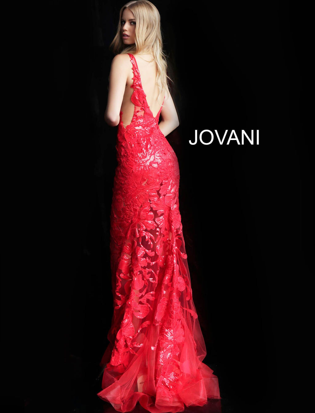 JOVANI 60283 Sequined V-neck Trumpet Dress - CYC Boutique