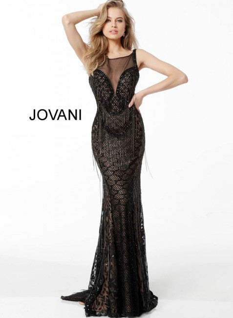 JOVANI 66000 Embellished Sheer Neckline Evening Dress - CYC Boutique
