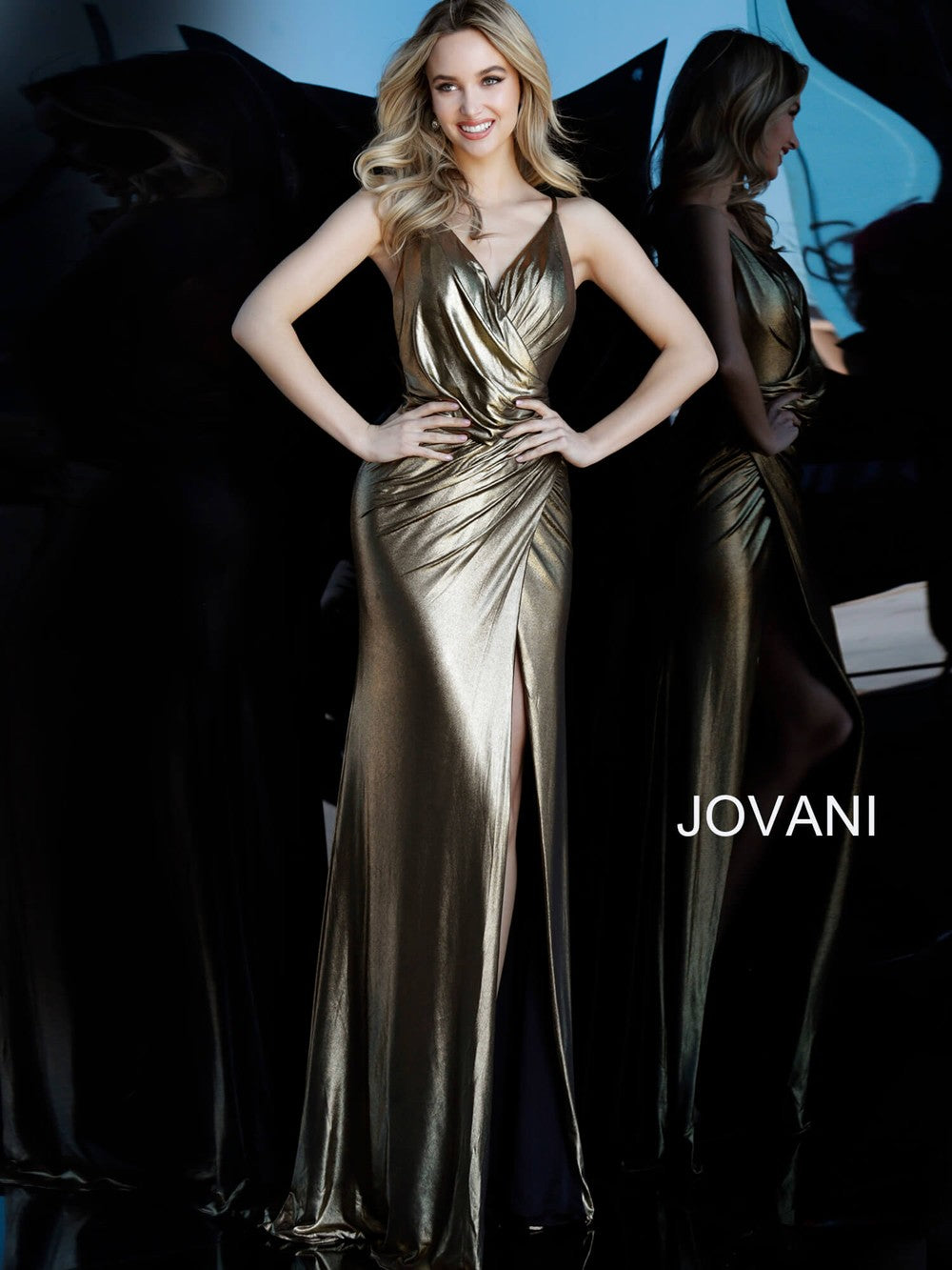 JOVANI 67934 Backless Metallic Prom Dress