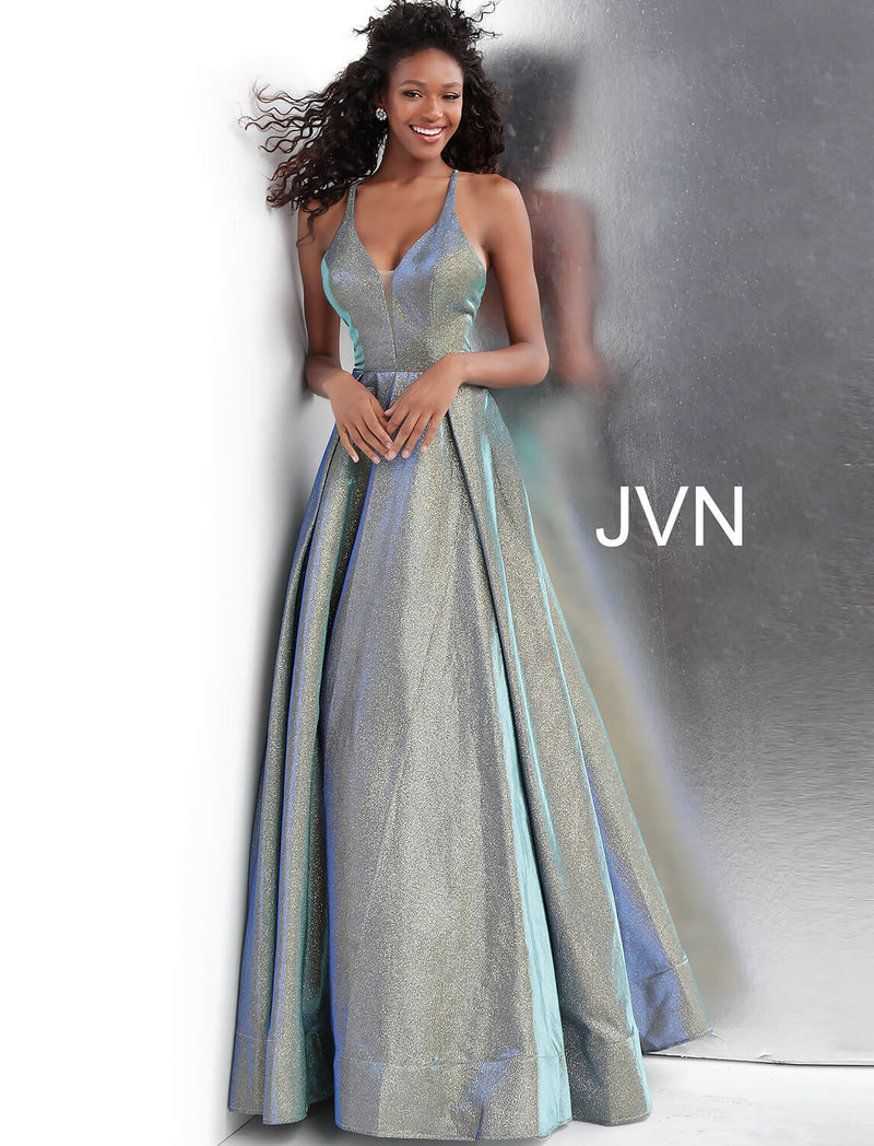 JOVANI JVN65851 Metallic V-Neck A-Line Gown - CYC Boutique